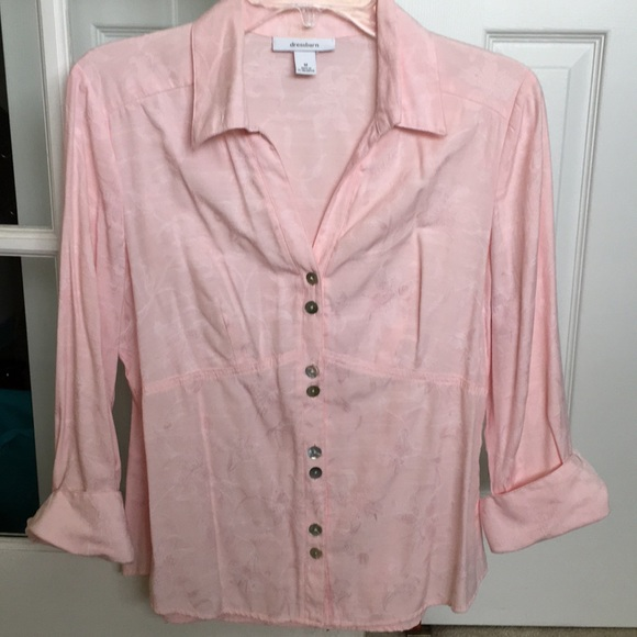 Dress Barn Tops - Pretty pick blouse with 3/4 cuffed sleeves